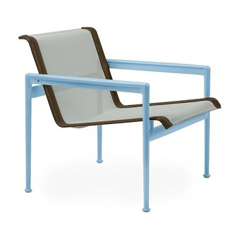 Shown in Grey Tone Fabric, Sky Blue Frame, Bronze Trim
