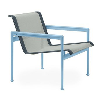 Shown in Grey Tone Fabric, Sky Blue Frame, Grey Trim