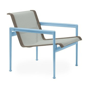 Shown in Grey Tone Fabric, Sky Blue Frame, Sand Trim