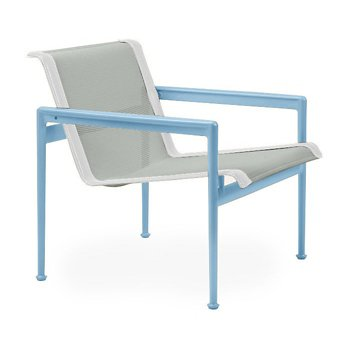 Shown in Grey Tone Fabric, Sky Blue Frame, White Trim