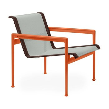 Shown in Grey Tone Fabric, Orange Frame, Brown Trim