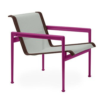 Shown in Grey Tone Fabric, Plum Frame, Brown Trim