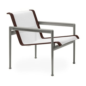 Shown in White Fabric, Weatherable Silver Frame, Brown Trim