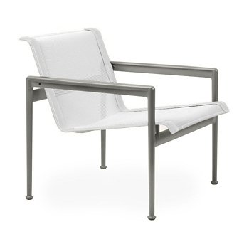 Shown in White Fabric, Weatherable Silver Frame, White Trim