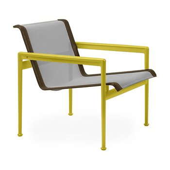 Shown in Aluminum Fabric, Yellow Frame, Bronze Trim