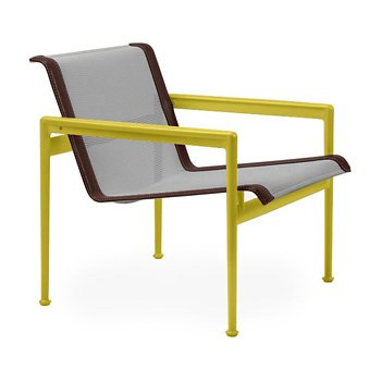 Shown in Aluminum Fabric, Yellow Frame, Brown Trim