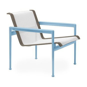 Shown in White Fabric, Sky Blue Frame, Sand Trim