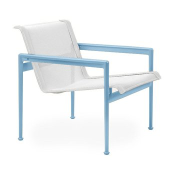 Shown in White Fabric, Sky Blue Frame, White Trim