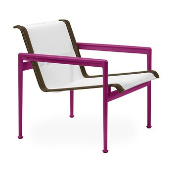 Shown in White Fabric, Plum Frame, Bronze Trim