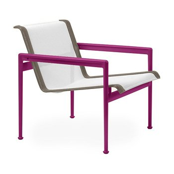 Shown in White Fabric, Plum Frame, Sand Trim