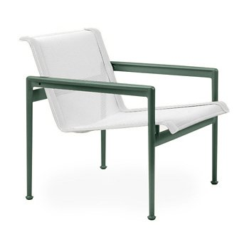 Shown in White Fabric, Green Frame, White Trim