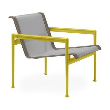 Shown in Aluminum Fabric, Yellow Frame, Sand Trim