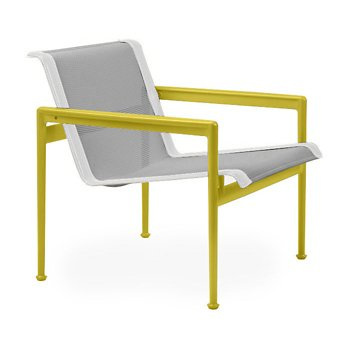 Shown in Aluminum Fabric, Yellow Frame, White Trim