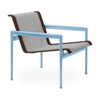 Shown in Aluminum Fabric, Sky Blue Frame, Brown Trim