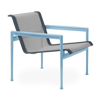 Shown in Aluminum Fabric, Sky Blue Frame, Grey Trim