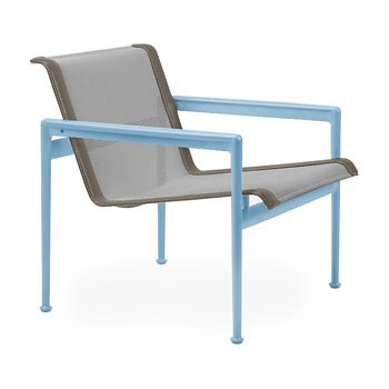 Shown in Aluminum Fabric, Sky Blue Frame, Sand Trim