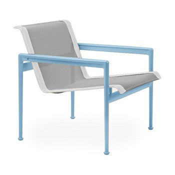 Shown in Aluminum Fabric, Sky Blue Frame, White Trim