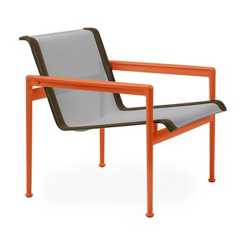 Shown in Aluminum Fabric, Orange Frame, Bronze Trim