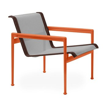 Shown in Aluminum Fabric, Orange Frame, Brown Trim