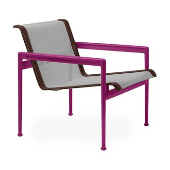 Shown in Aluminum Fabric, Plum Frame, Brown Trim