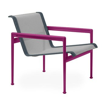 Shown in Aluminum Fabric, Plum Frame, Grey Trim