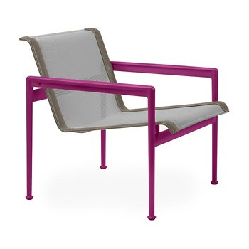 Shown in Aluminum Fabric, Plum Frame, Sand Trim