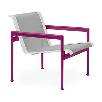 Shown in Aluminum Fabric, Plum Frame, White Trim
