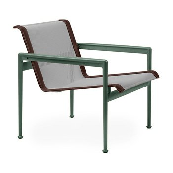 Shown in Aluminum Fabric, Green Frame, Brown Trim