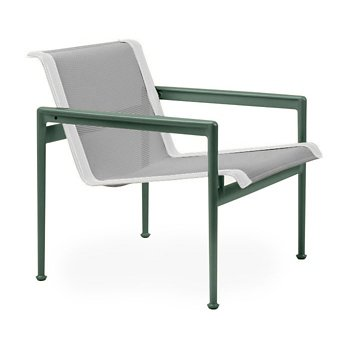 Shown in Aluminum Fabric, Green Frame, White Trim