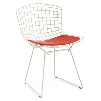 Shown in Vinyl Carrot Seat Cushion with White Powder Coat base