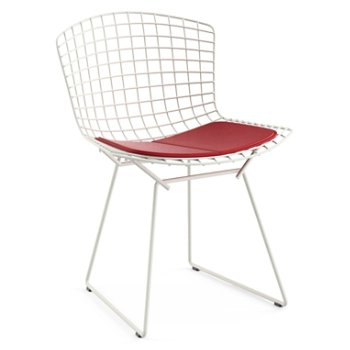 Shown in Vinyl Red Seat Cushion with White Powder Coat base