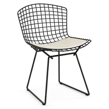 Shown in Vinyl White Seat Cushion with Black Powder Coat base