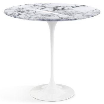 Shown in Arabescato White Grey Shiny Coated Marble top with White Base