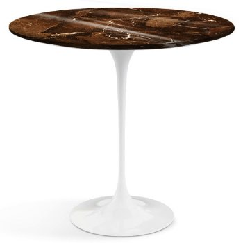 Shown in Espresso Brown Shiny Coated Marble top with White base