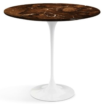 Shown in Espresso Brown Satin Coated Marble top with White Base