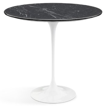 Shown in Nero Marquina Black Shiny Coated Marble top wiht White base