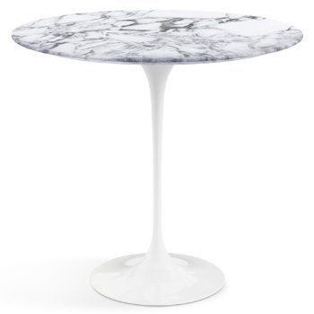 Shown in Arabescato White Grey Satin Coated Marble top with White base