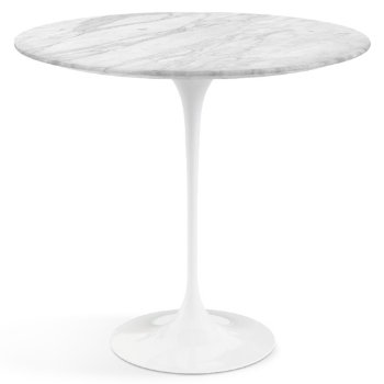 Shown in Carrara White Grey Satin Coated Marble top with White base
