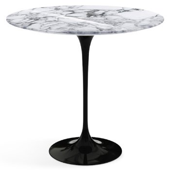Shown in Arabescato White Grey Shiny Coated Marble top with Black base