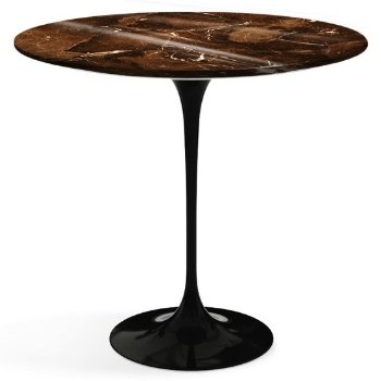 Shown in Espresso Brown Shiny Coated Marble top with Black base