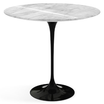 Shown in Carrara White Grey Shiny Coated Marble top with Black base