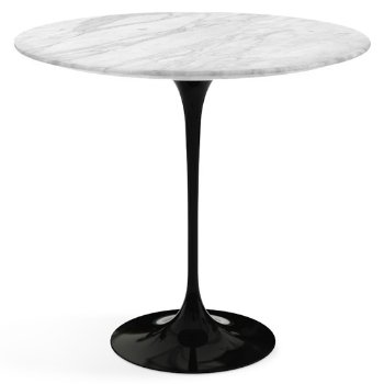 Shown in Carrara White Grey Satin Coated Marble top wih Black base