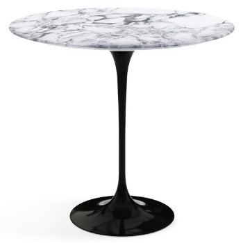 Shown in Arabescato White Grey Satin Coated Marble top with Black base