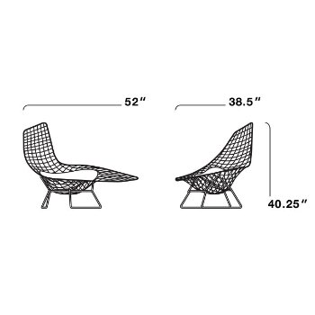 Bertoia Asymmetric Chaise With Seat Cushion By Knoll At Lumenscom