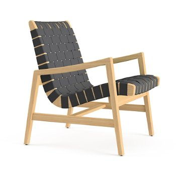 Shown in Black Cotton Webbing material with Clear Maple frame finish