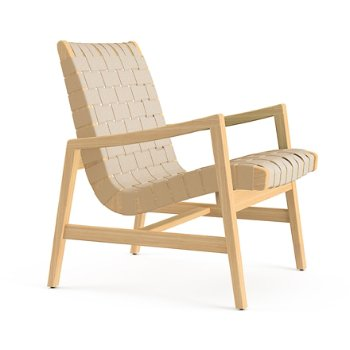 Shown in Flax Cotton Webbing material with Clear Maple frame finish