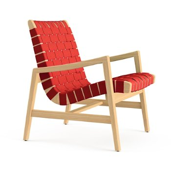 Shown in Maize Cotton Webbing material with Clear Maple frame finish