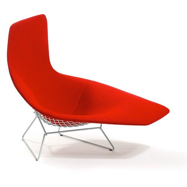 Bertoia Asymmetric Chaise, Fully Upholstered