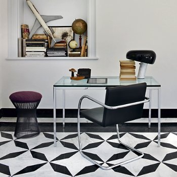 Shown in Clear Glass in use shown with Tubular Brno Chair and Platner Stool