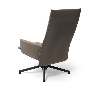 Shown in Ultrasuede Silver with Dark Grey Painted Base finish, Rear view